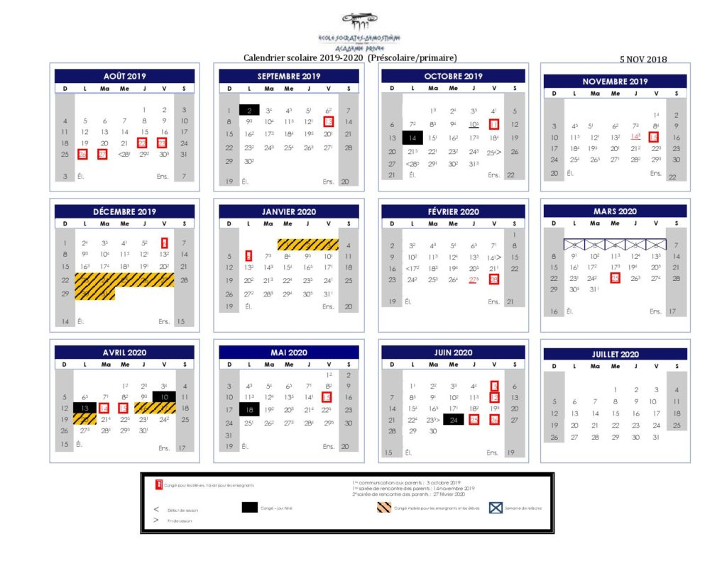 Calendrier 2019 2020 Ecole.Ecole Socrates Demosthene Calendriers Scolaires